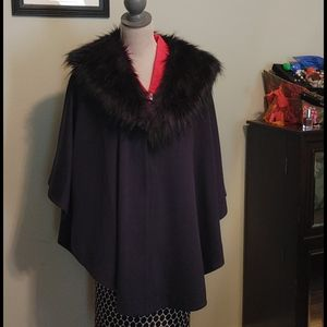 Navy Cape with fur